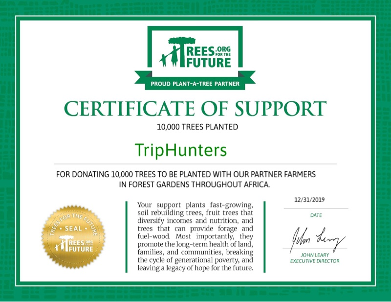 Certificate of support from Trees For The Future showing that the trees have been donated by TripHunters